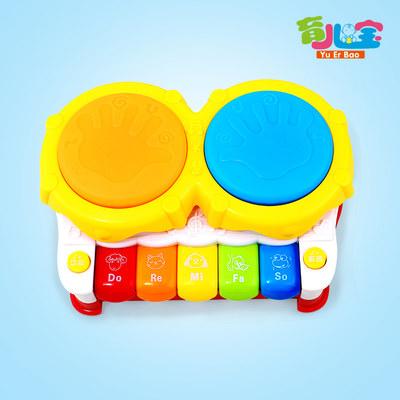 育儿宝婴幼儿带灯光音乐琴拍拍鼓益智趣味玩具