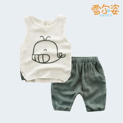 雪尔姿儿童夏季时尚新款小海鲸背心短裤套装